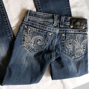 Miss ME Destroyed Bootcut Blue Denim Jeans
